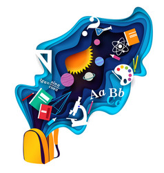 Back to school concept paper cut vector