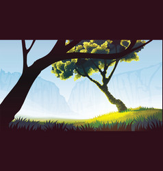 background of field with trees vector image