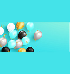 balloons and flying golden serpentine on a blue vector image