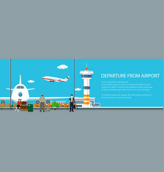 Banner view on a take-off airplane vector