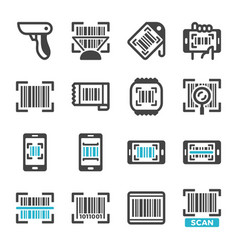 barcode icon set vector image