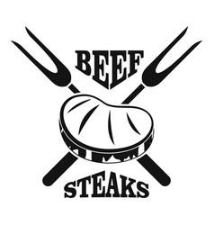 beef steaks logo simple style vector image