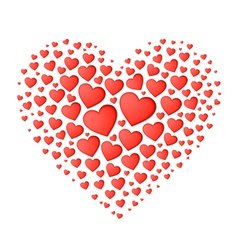Big red heart from small vector image