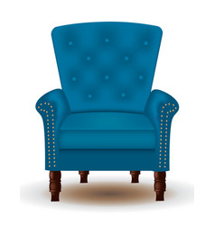 blue elegant quilted chair with wooden legs vector image
