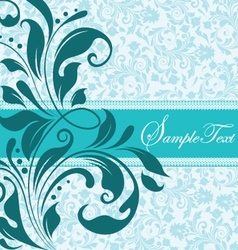 blue floral document template vector image