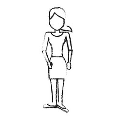 Blurred silhouette caricature faceless woman with vector