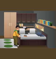 Boy folding clothes in his bedroom vector