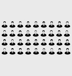 business man icons set and boss on gray backgrond vector image