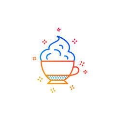Cappuccino coffee icon whipped cream sign vector