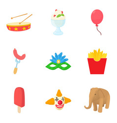 carnival icons set cartoon style vector image