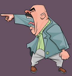 Cartoon an aggressive bald man in a suit yells vector