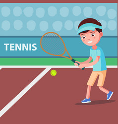 cartoon boy playing tennis on the court vector image