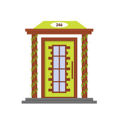 cartoon green front door of house vector image