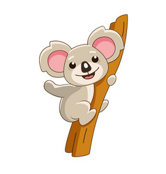 cartoon koala sitting on a tree vector image