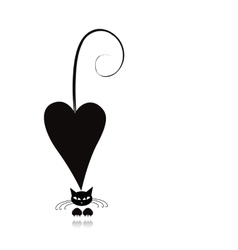 Cat in love black silhouette for your design vector image