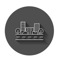 City in flat style building tree and shrub vector
