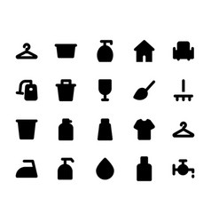 cleaning solid icons 2 vector image