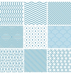 Collection seamless backgrounds with lines vector