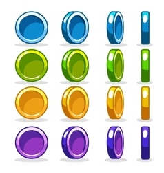 Colorful coin game turn-based rotation animation vector