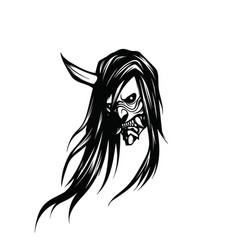 Creepy head a demon with one horn and long hair vector
