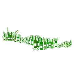 Crete island map mosaic of wine bottles and vector