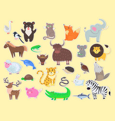 Cut out exotic domestic and farm animals poster vector