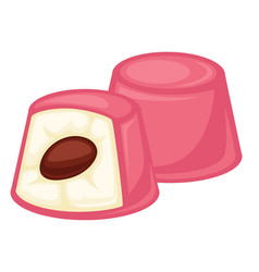 Delicious soft souffle candies covered with vector