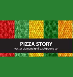 Diamond pattern set pizza story seamless vector