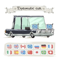 Diplomatic Car With Flags Set vector