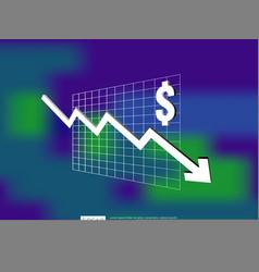 Dollar money fall down symbol with blur vector