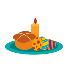 Easter cake with eggs and burning candle icon vector image