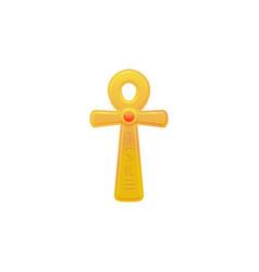 Egyptian gold cross or ankh flat vector