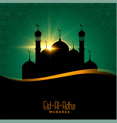 Eid al adha beautiful background with mosque vector