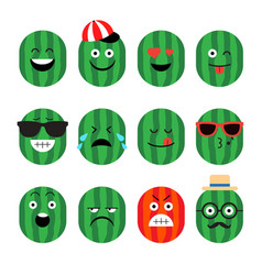 Emojis watermelon fruit summer set of vector