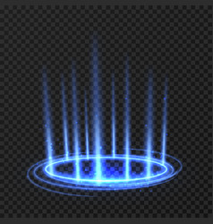 energy spinning circle with blue glowing rays vector image