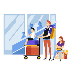 family at airport tourism and traveling baggage or vector image