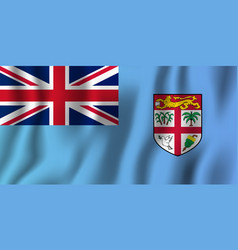 fiji realistic waving flag national country vector image