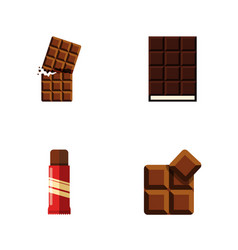 flat icon bitter set of cocoa sweet dessert and vector image
