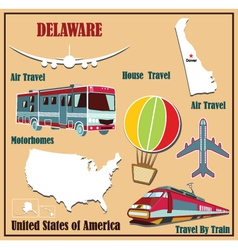 Flat map of Delaware vector image vector image