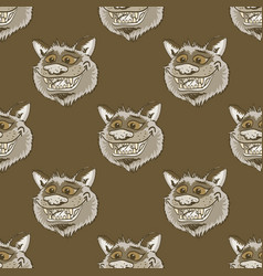 Funky wolf smiling seamless pattern vector