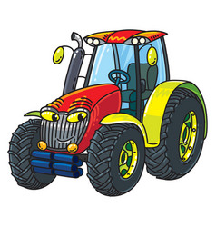 funny small tractor with eyes vector image