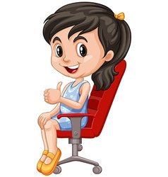 Girl on red chair having thumb up vector