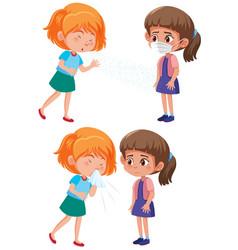 Girl spreading covid-19 cough vector