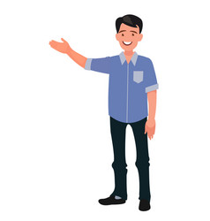 happy man points to something character for vector image