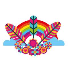 hippie retro tribal feathers rainbow decoration vector image