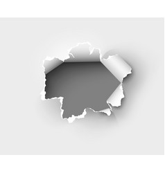 Hole torn in ripped paper on white back vector