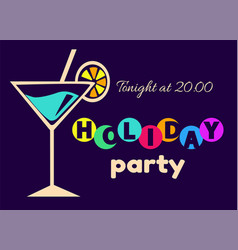 holiday party tonight at 20 00 vector image