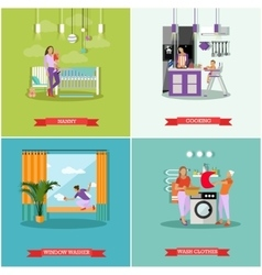 Housewife concept posters Housekeeper vector