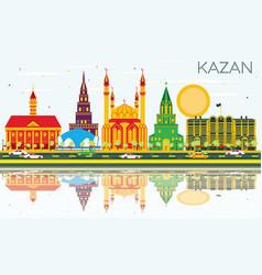 Kazan skyline with color buildings blue sky and vector