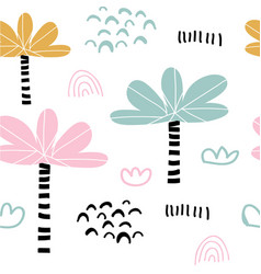 kids hand drawn tropical seamless pattern vector image